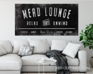 farmhouse style lounge sign personalized