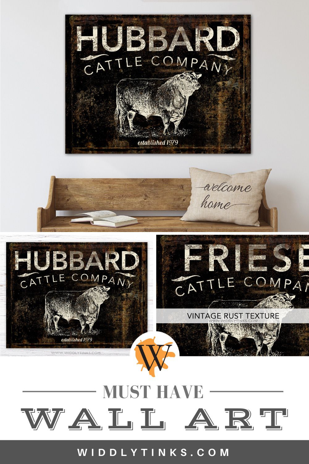 modern farmhouse cattle company name sign black