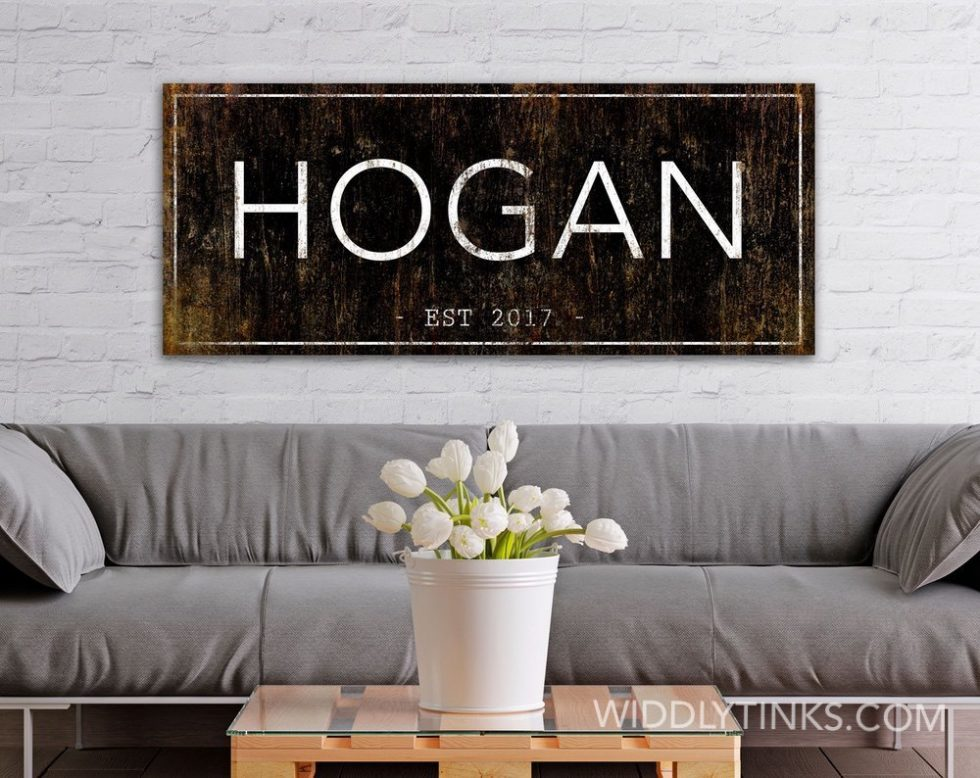 modern farmhouse family name established sign room3