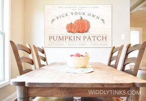 modern farmhouse family pumpkin patch sign closeup