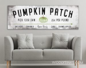 modern farmhouse green pumpkin patch fall sign room