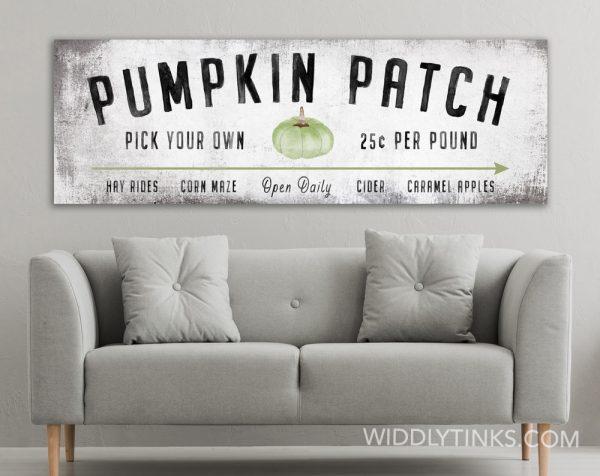 modern farmhouse green pumpkin patch fall sign room