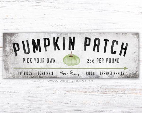 modern farmhouse green pumpkin patch fall sign simple