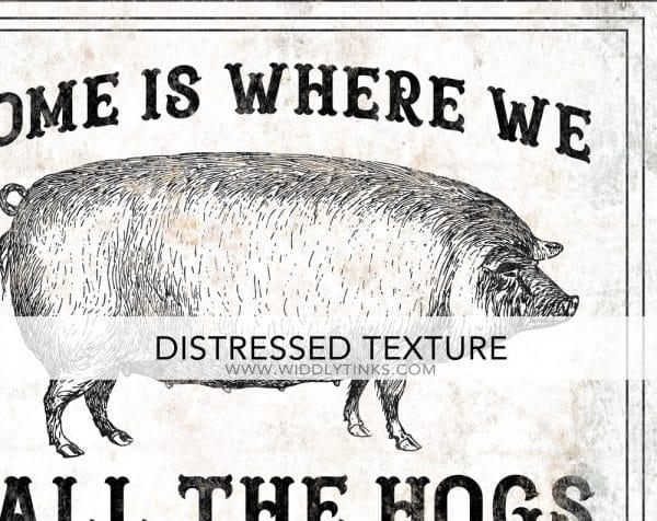 modern farmhouse home call the hogs sign closeup