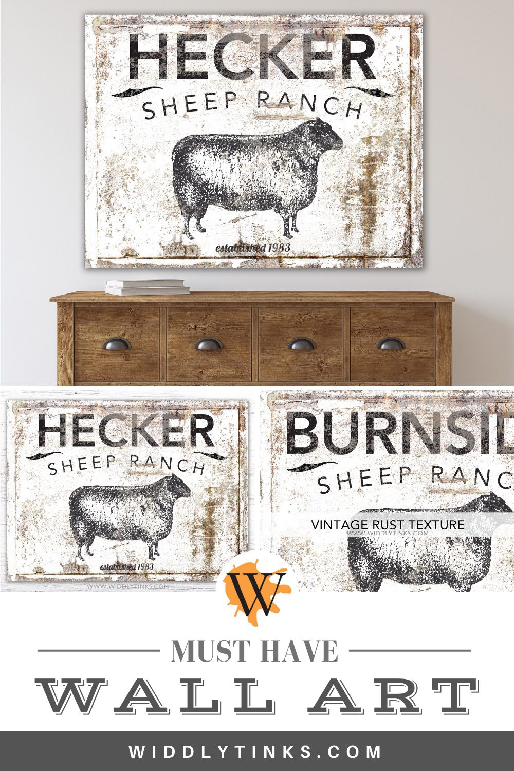 modern farmhouse personalized sheep ranch family sign