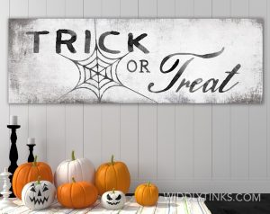 modern farmhouse trick or treat halloween sign room