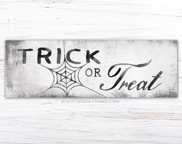 modern farmhouse trick or treat halloween sign simple