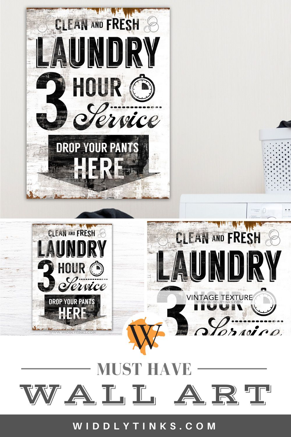 modern industrial clean fresh laundry sign