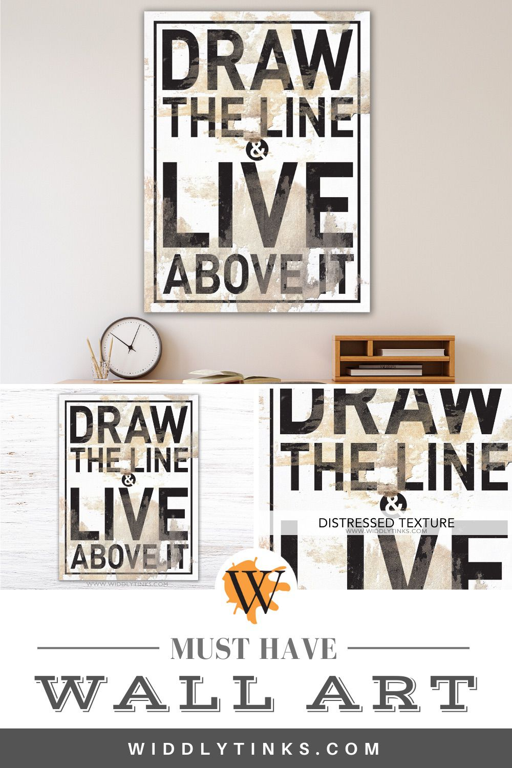 modern industrial draw the line quote sign