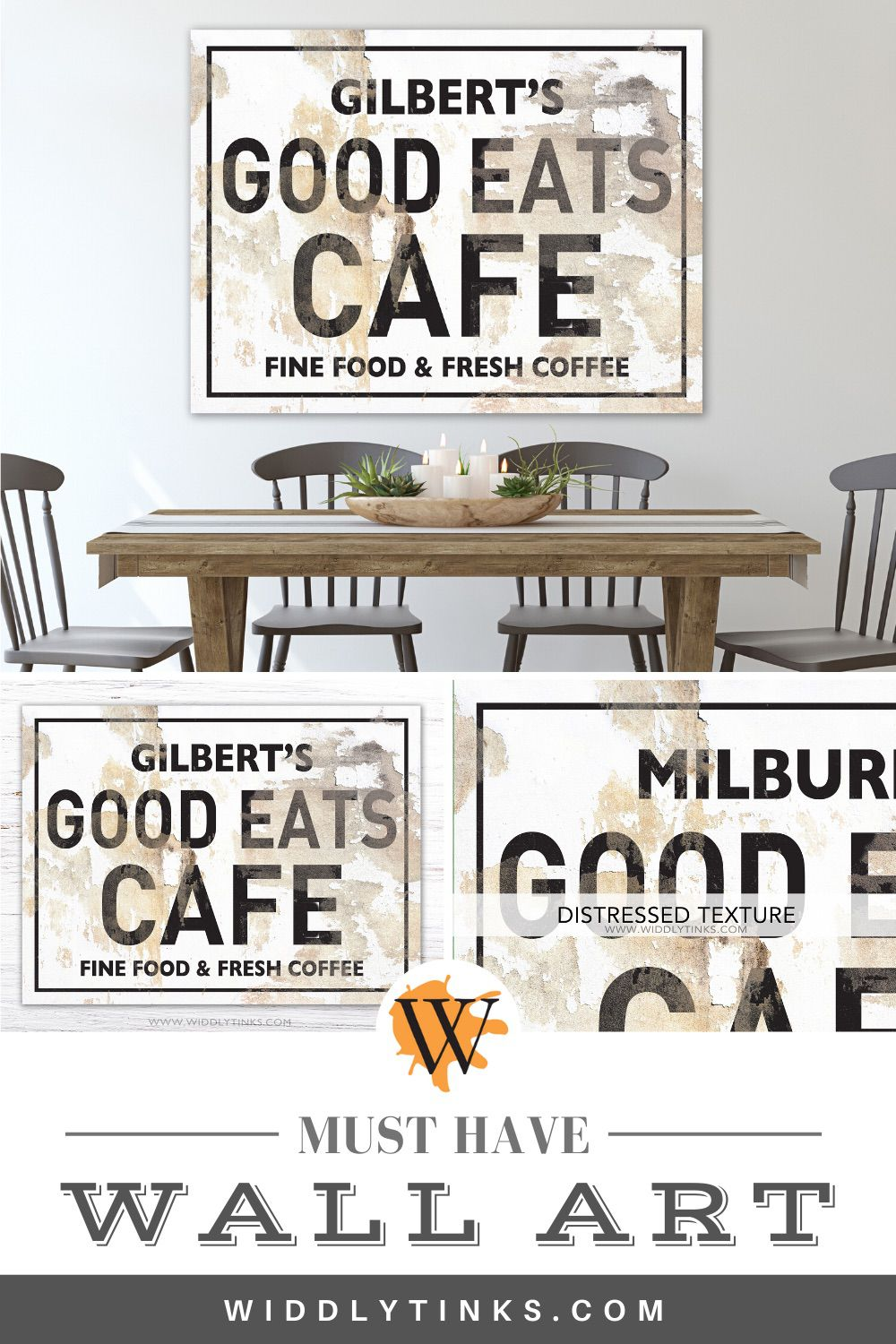 modern industrial personalized kitchen cafe sign