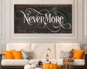 Vintage Quoth the Raven Nevermore Gothic Halloween Sign