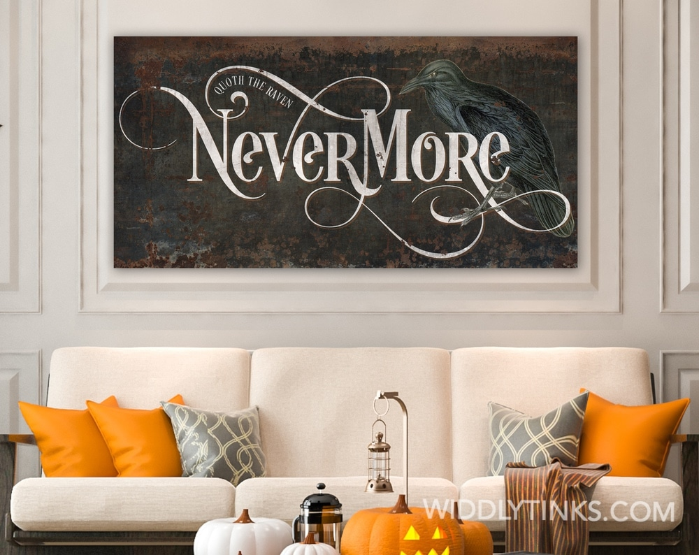 Vintage Quoth the Raven Nevermore Gothic Sign