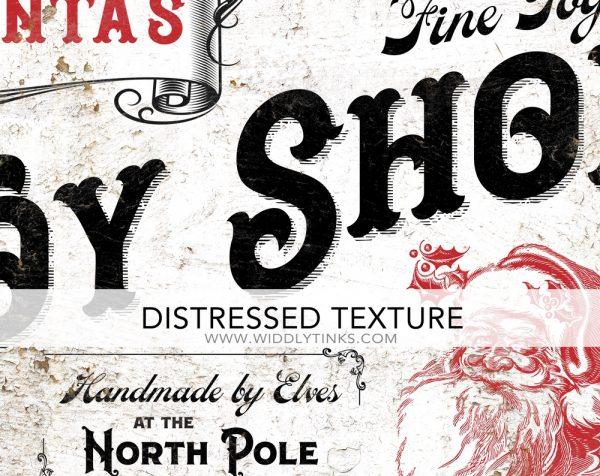 nostalgic vintage santas toy shop christmas sign closeup