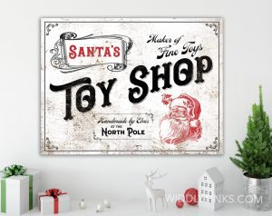nostalgic vintage santas toy shop christmas sign room