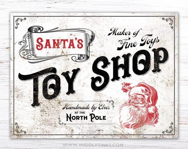 nostalgic vintage santas toy shop christmas sign simple