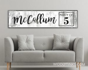 party of family name sign
