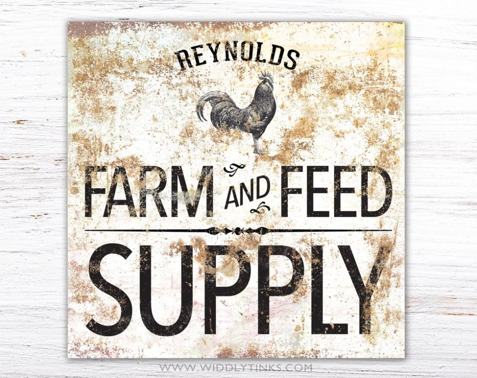 personalized rustic country farm feed supply rooster sign simple