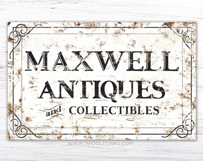 personalized- rustic antiques sign simple