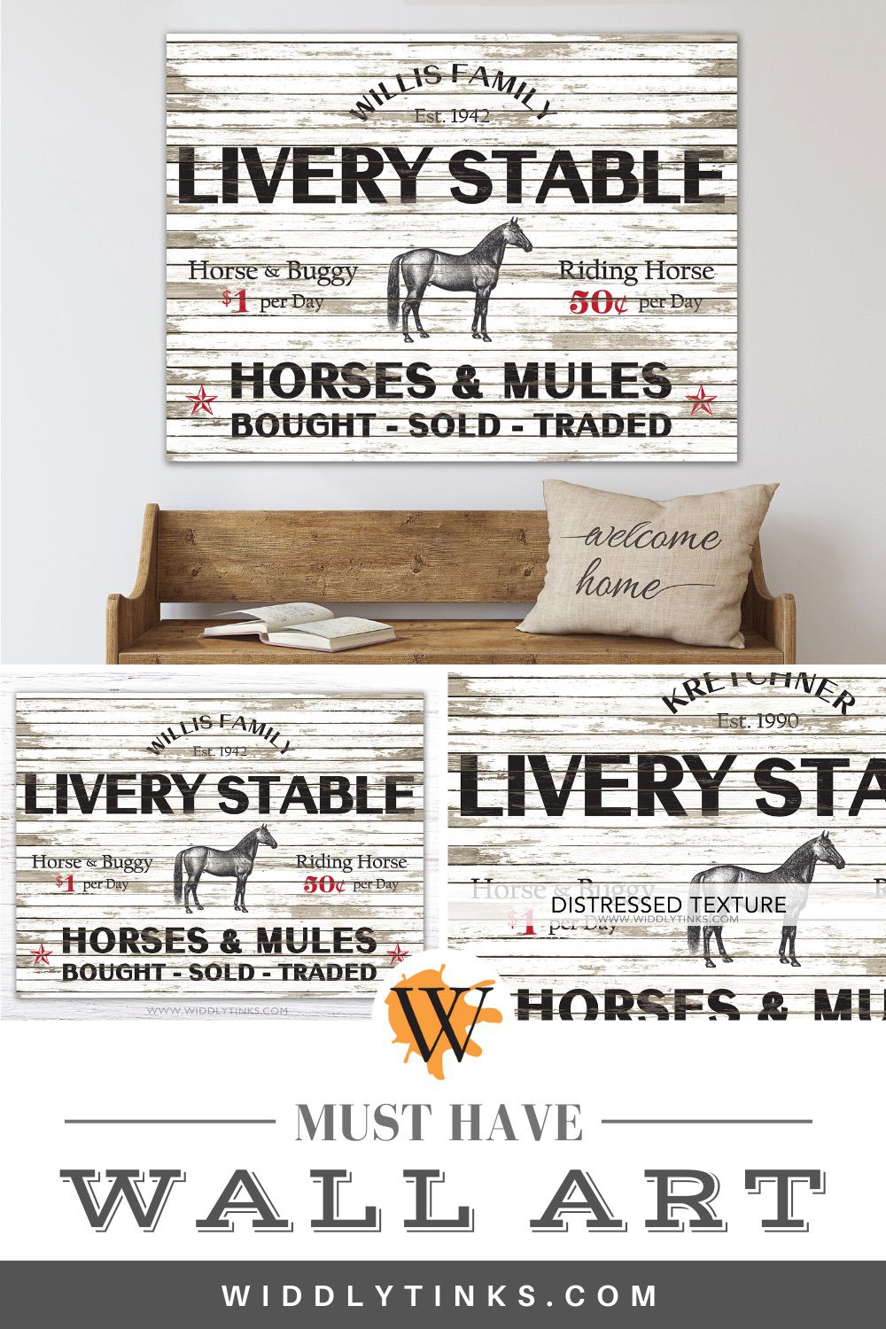 primitive country personalized livery stable horse sign