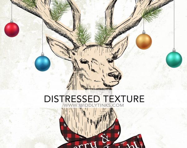 quirky christmas reindeer antler merry bright sign closeup