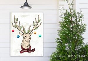 quirky christmas reindeer antler merry bright sign room