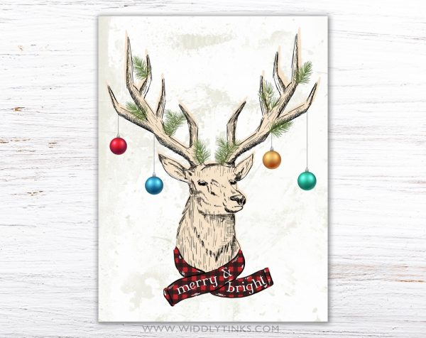 quirky christmas reindeer antler merry bright sign simple