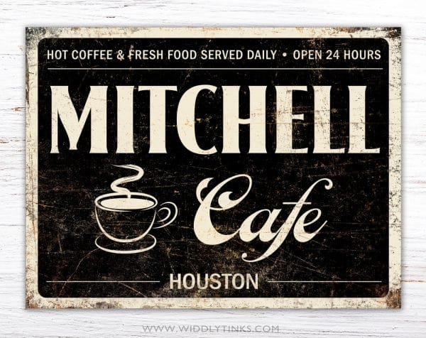 retro industrial family coffee cafe sign black simple