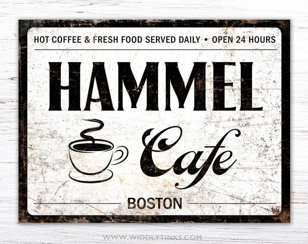 retro industrial family coffee cafe sign white simple