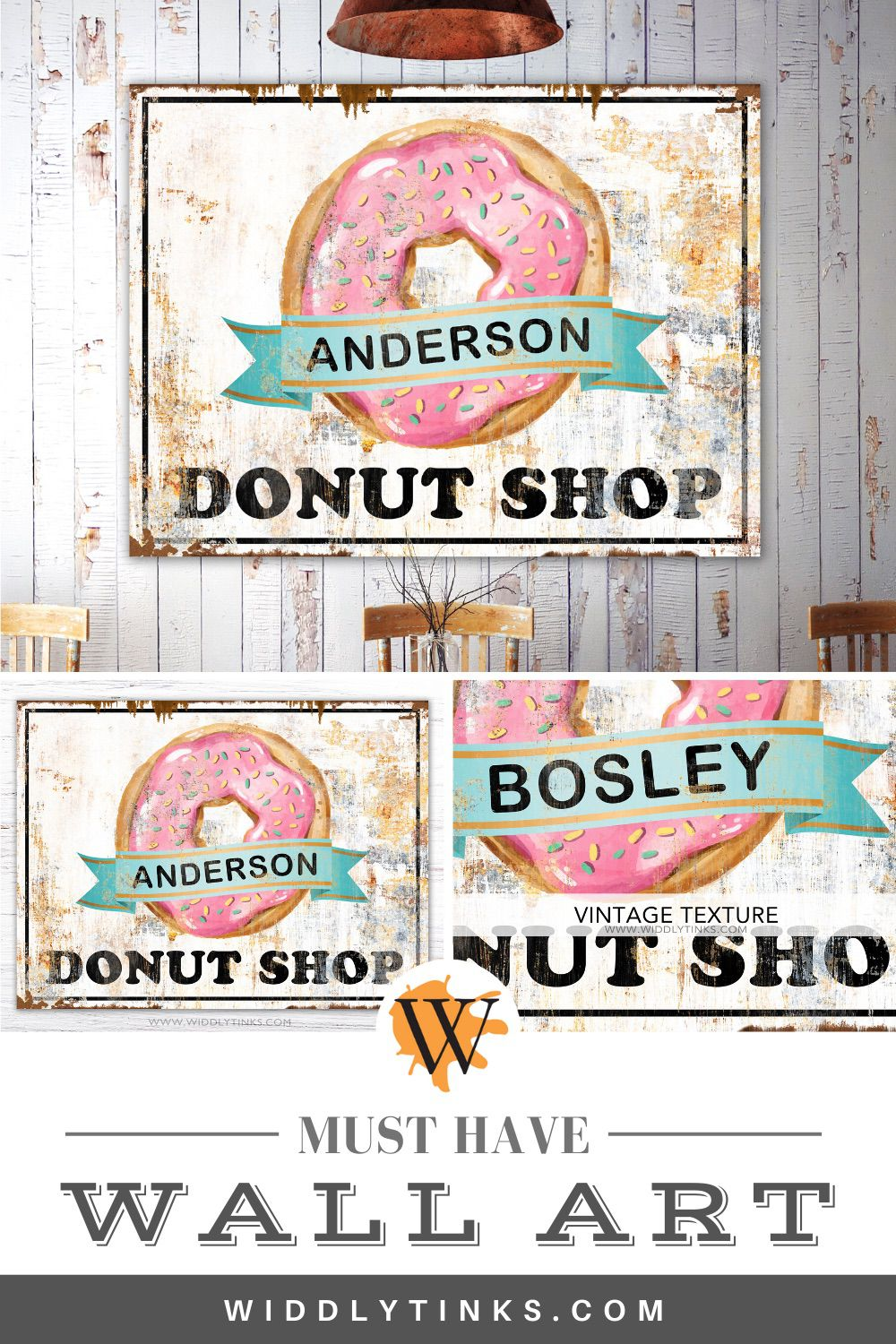 retro industrial personalized donut shop sign