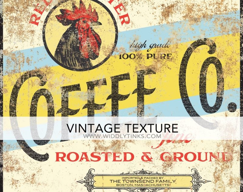 retro red rooster coffee company sign closeup
