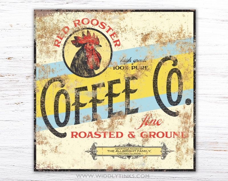 retro red rooster coffee company sign simple