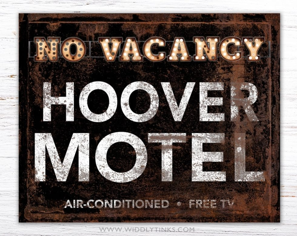 retro vintage family motel guest room sign simple