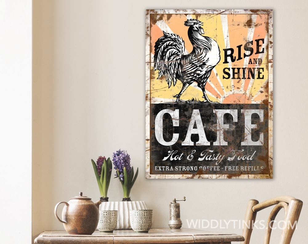 Rustic Farmhouse Rooster Cafe Sign