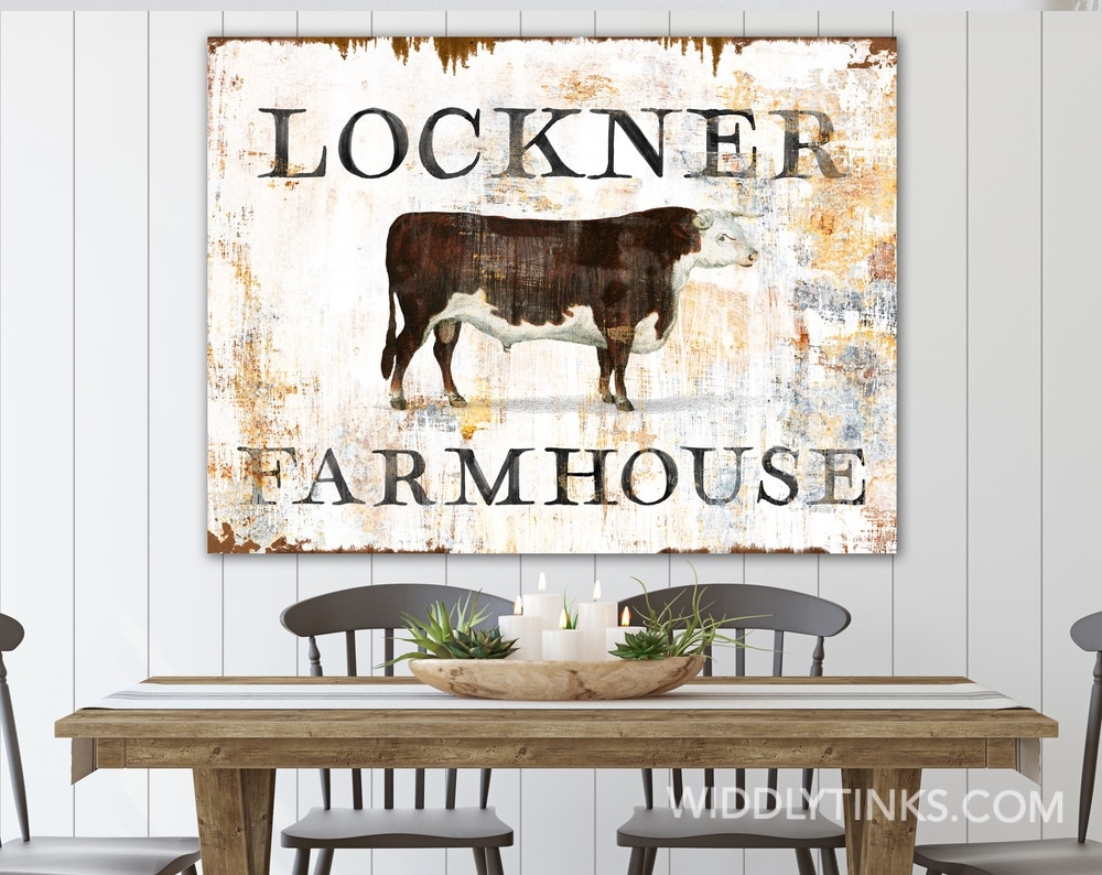 Rustic Chic Vintage Cattle Family Sign