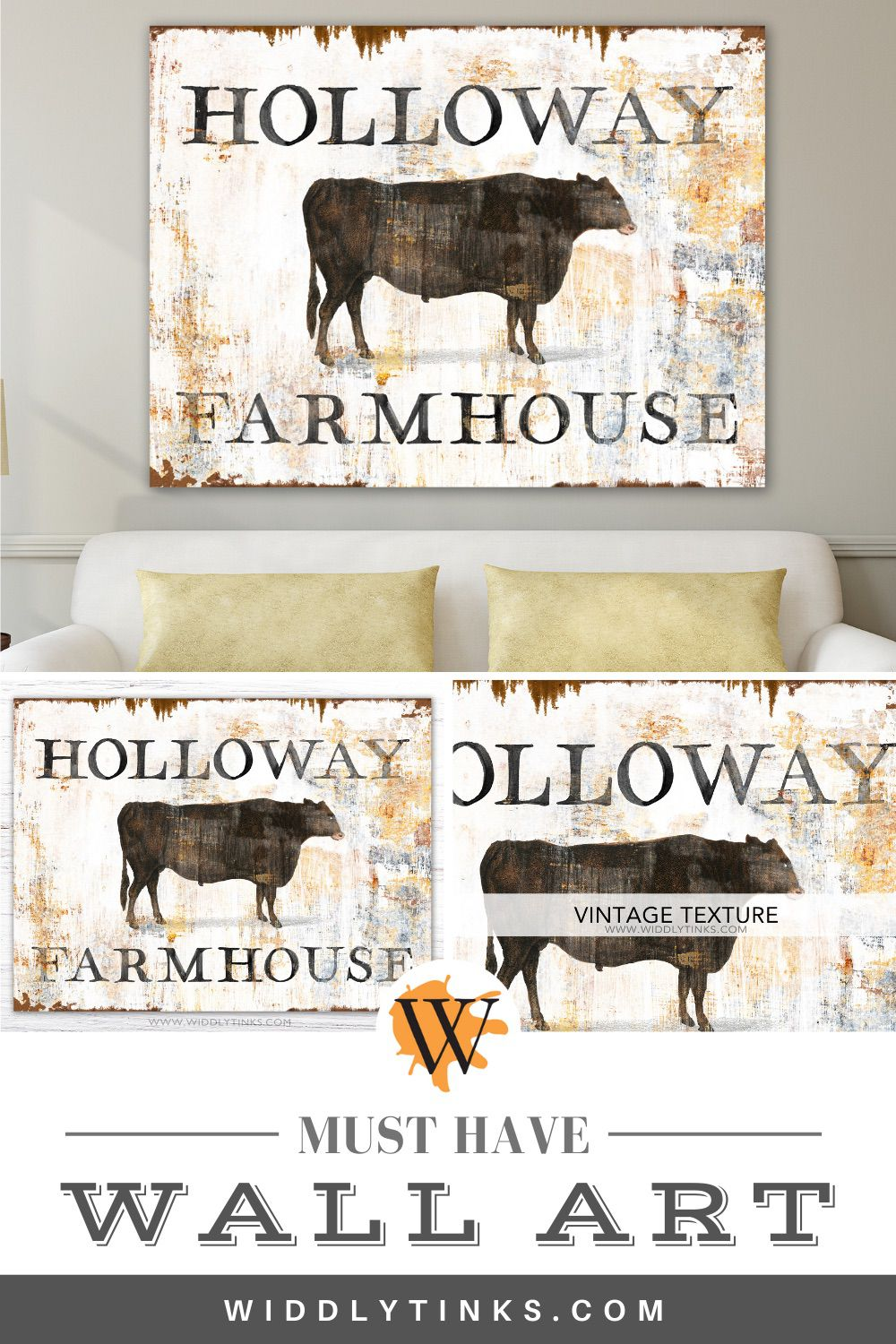 rustic chic vintage cattle family sign v1