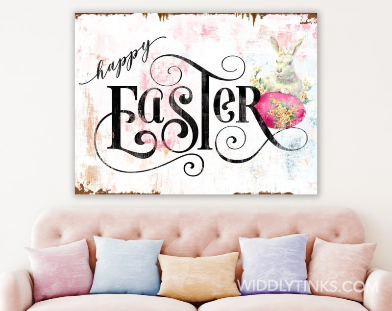 rustic chic vintage happy easter sign room