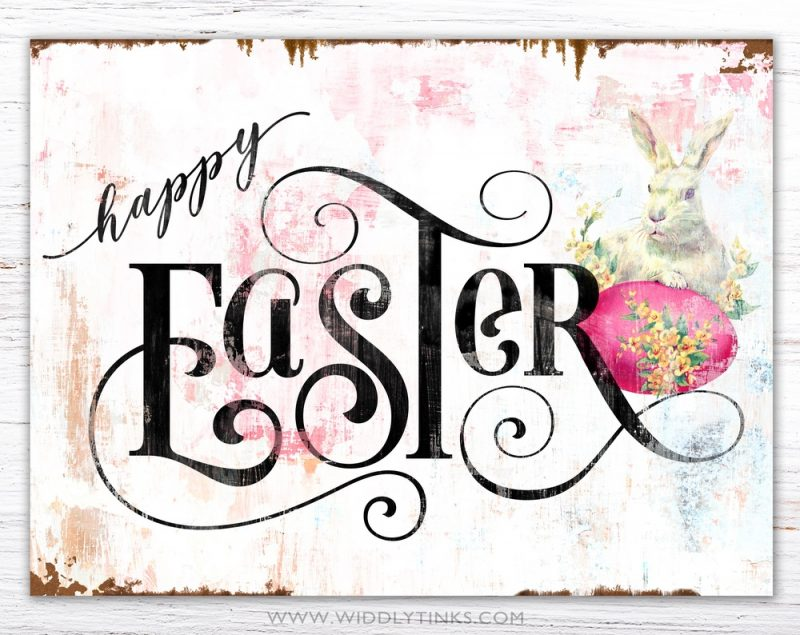 rustic chic vintage happy easter sign simple