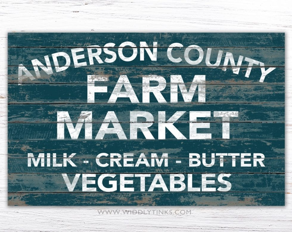 rustic country farm market sign blue simple