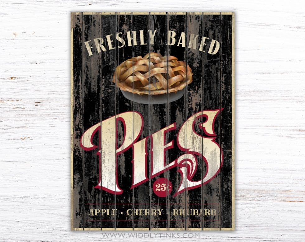 rustic country pies kitchen sign black simple