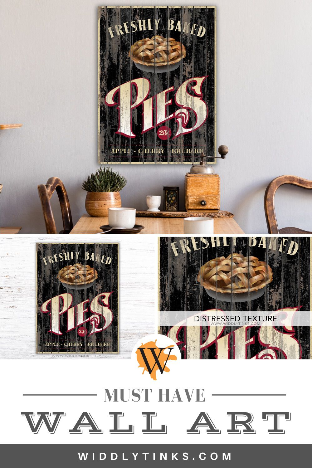 rustic country pies kitchen sign black