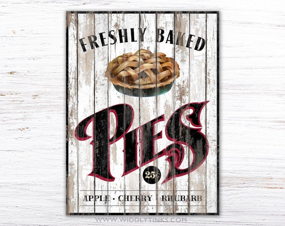 rustic country pies kitchen sign white simple