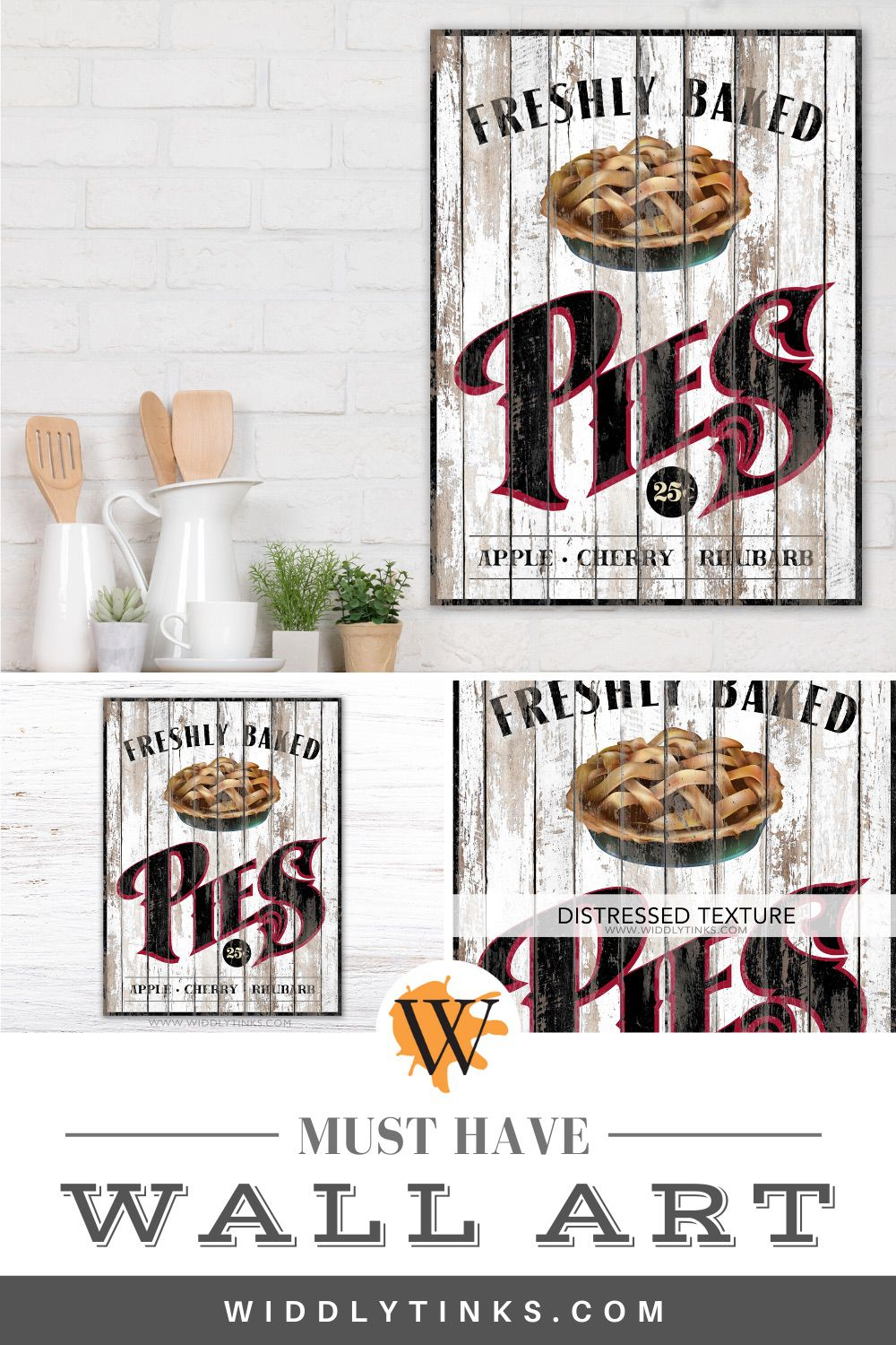 rustic country pies kitchen sign white