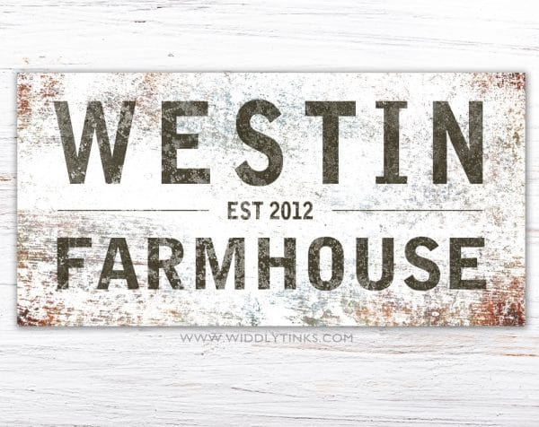 rustic family farmhouse last name sign simple