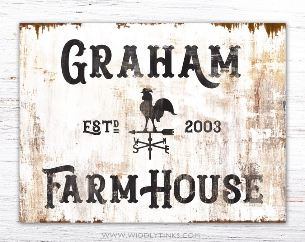 rustic family farmhouse rooster weathervane sign simple