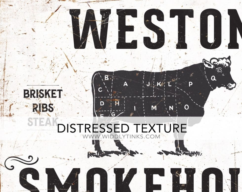 rustic family smokehouse bbq sign closeup