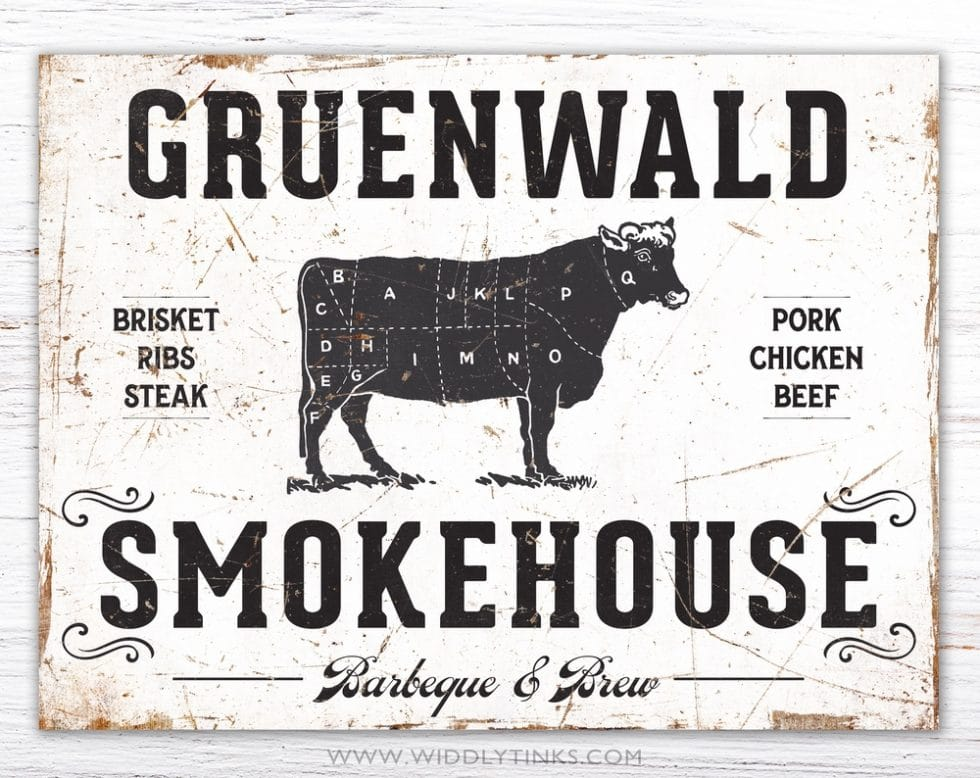 rustic family smokehouse bbq sign simple