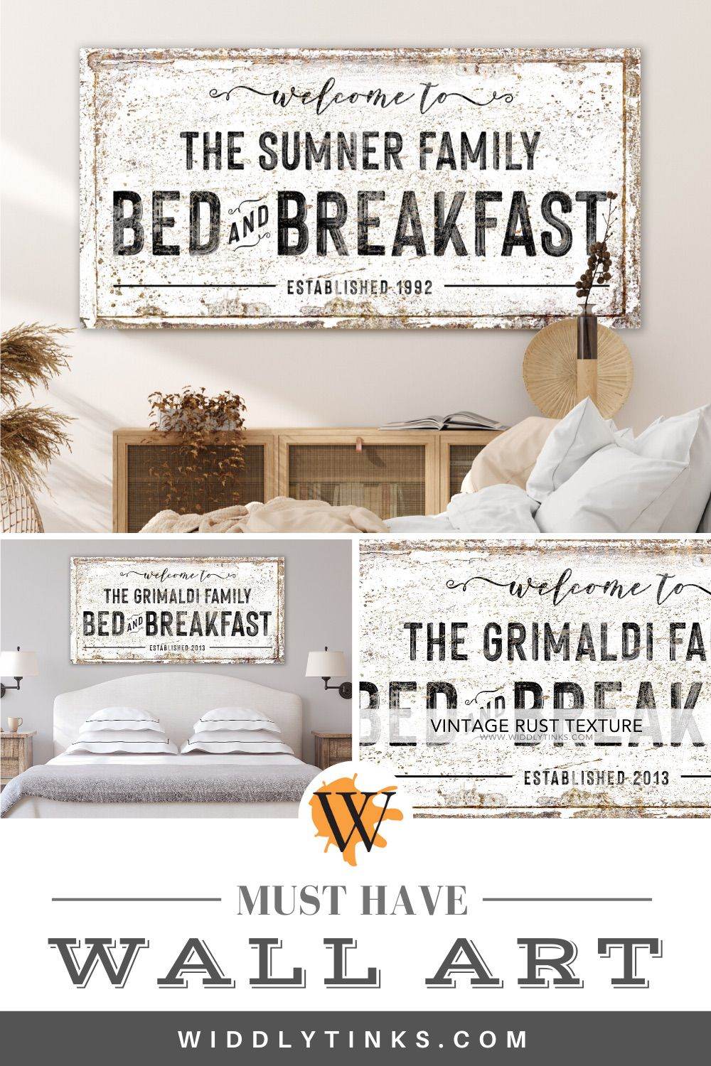 rustic farmhouse family bed breakfast sign