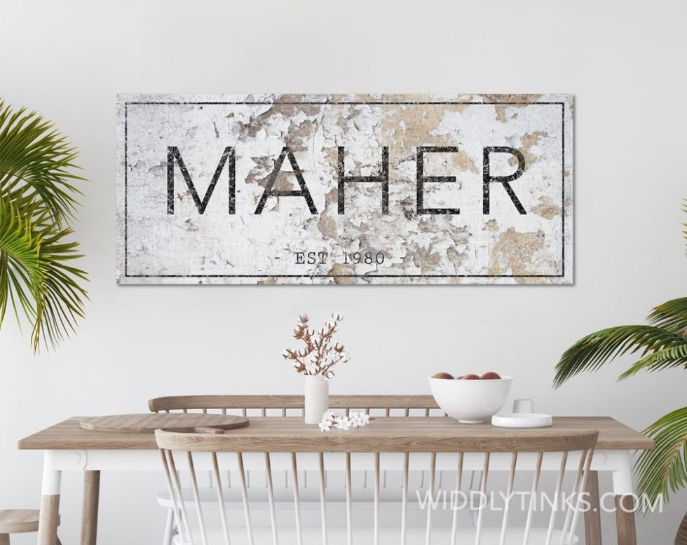 rustic farmhouse family name established sign room6