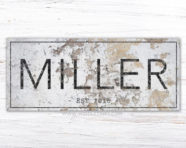 rustic farmhouse family name established sign simple