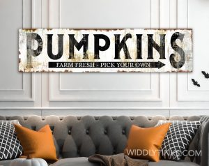 rustic farmhouse pumpkins sign black room
